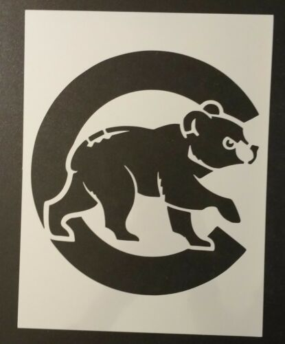 "Chicago Cubs With Bear Cub 8.5/"" x 11/"" Custom Stencil FAST FREE SHIPPING"