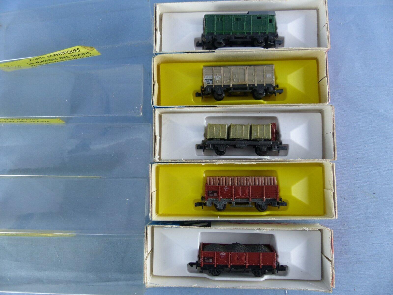 ARNOLD RAPIDO lot de 5 wagons wagons wagons marcheises + boite 0446 0447 0449 0456 0463 97bb68