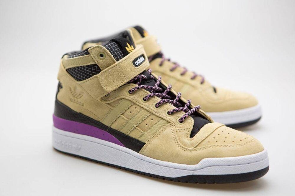 Adidas homme Forum Mid Mid Forum Refined tan sand core noir footwear blanc F37834 93b872