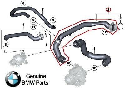 For BMW 5 6 Series Water Hose Water Pump to Engine Inlet Genuine 11 53 7 583 939