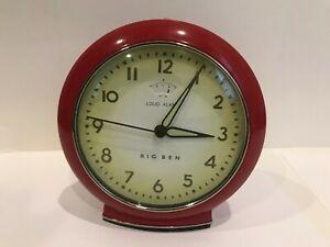Red-BIG-BEN-Retro-034-LOUD-ALARM-034-Clock-batteries-Included-Works