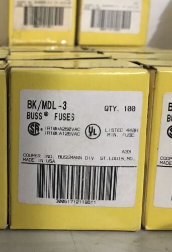 Cooper Bussman BK/MDL-3 BOX OF 100 QTY FUSES