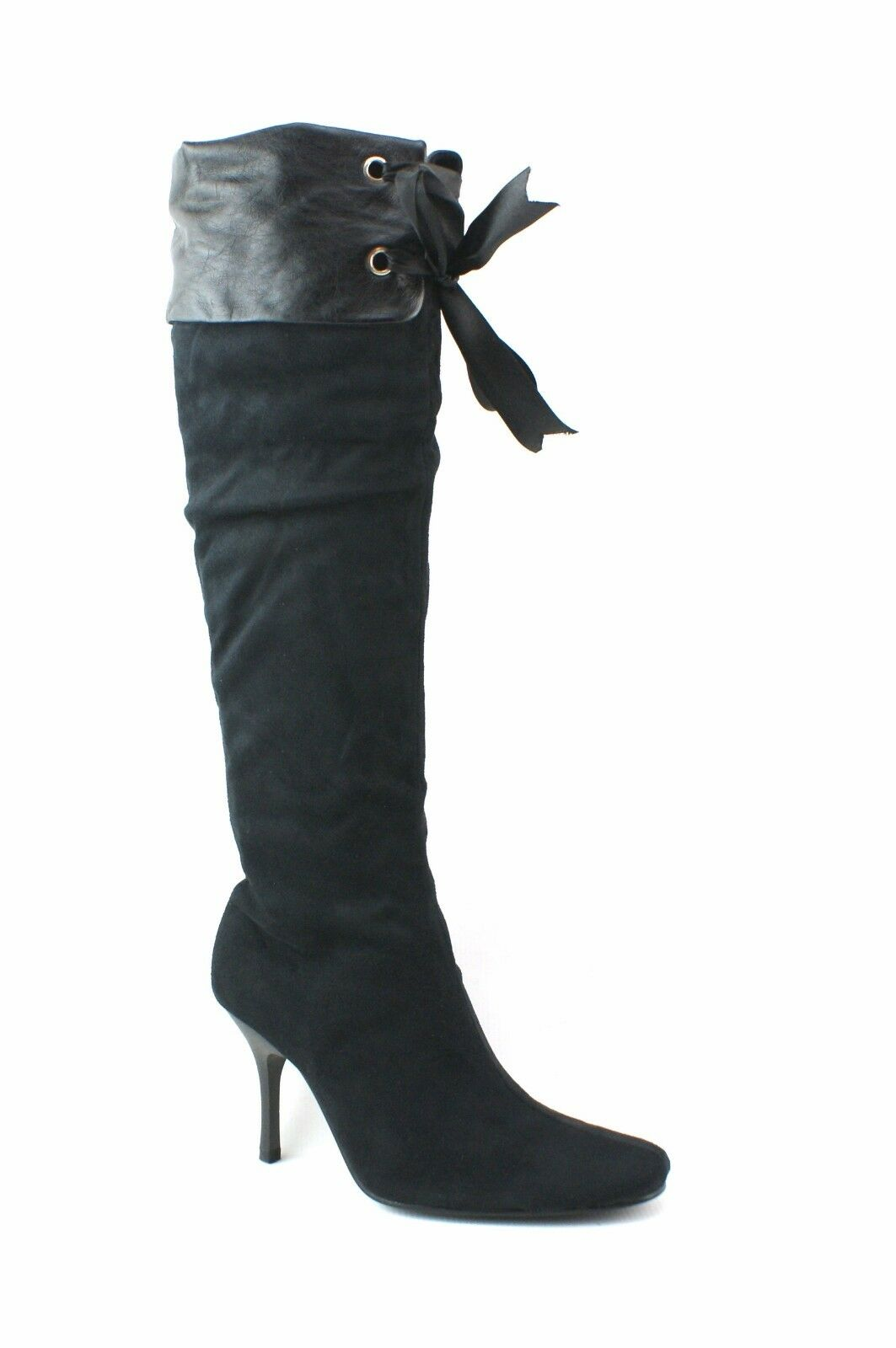 LADIES WOMENS BLACK KNEE BOOTS HIGH HIGH BOOTS HEEL PIRATE STYLE RIBBON CUFF SHOES SIZE b24d6e