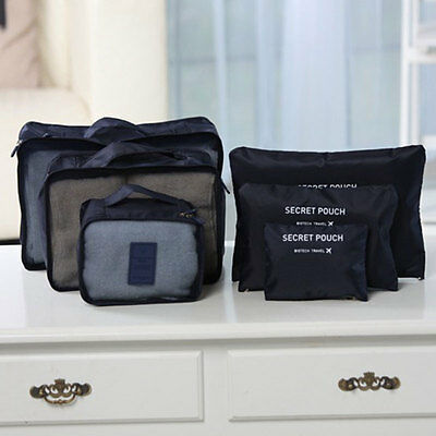 6Pcs Clothes Storage Bags Set Packing Cube Travel Luggage Organizer Navy Blue