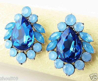 New Fashion Women Elegant Crystal Rhinestone Ear Stud silver dangle Earrings 459