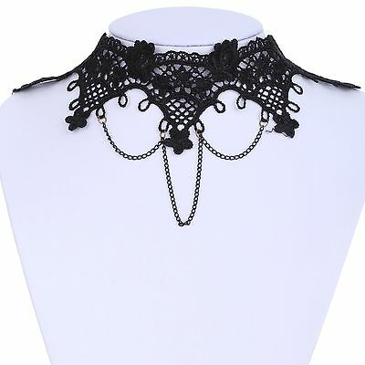 Charms Cameo Lolita Lace Flower Black Collar Chain Collar Bib Pendant Necklace
