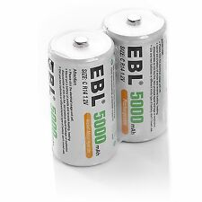 2x NI-MH 1.2V 5000mAh C Size C Cell Rechargeable Batteries FAST US SHIPPING