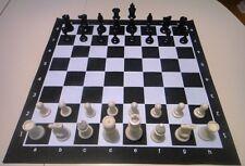 Black Tournament Chess SET 2 extra Queens Vinyl Board NEW