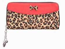 Banned Apparel 50s Rockabilly Leo Brown Leopard Animal Spot Bow Wallet Purse Red