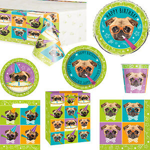 Pug Puppy Happy Birthday Party Decorations Tableware Gift Bag