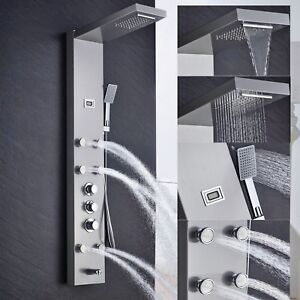 Thermostatic-Nickel-Waterfall-Rain-Shower-Panel-Body-Jets-Tub-Spout-Hand-Shower