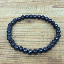 """Shungite bracelet  5mm round beads on elastic 17cm/7"""" polished"""