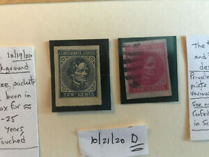 USA Civil War. Two Confederate stamps. Have image from designs #6, #7, and #