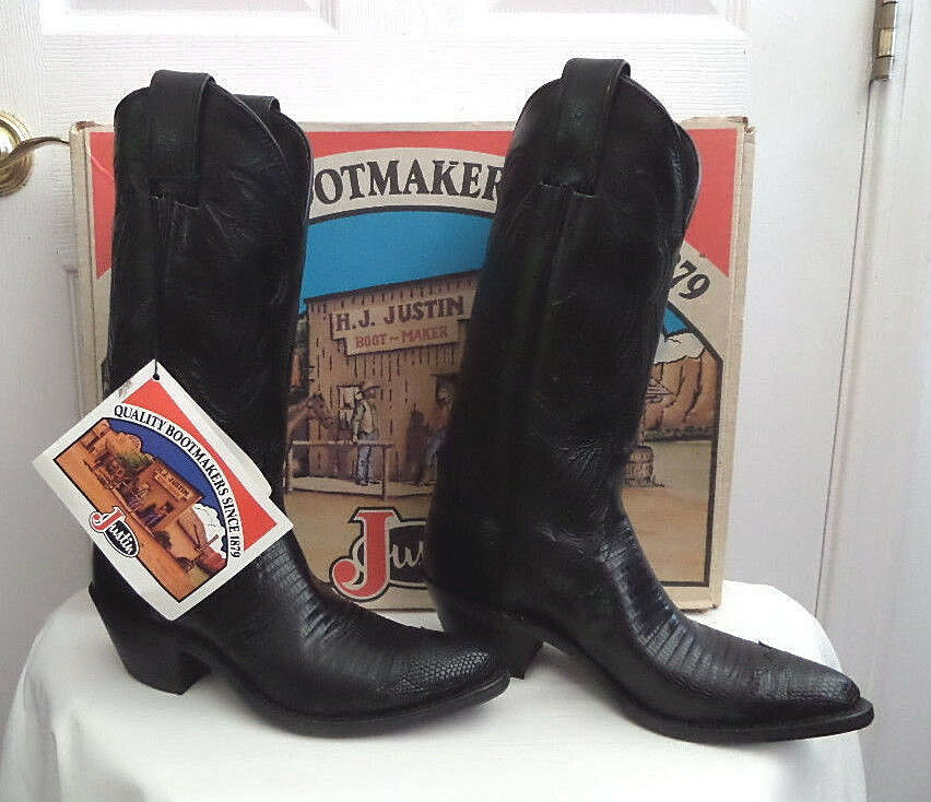 Vtg Justin Western Cowboy Boots Black Iguana Lizard & Kiddie Women Size 5B