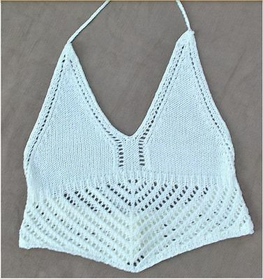 White crochet wrap top; crop; bikini top; boho style; size small; tie; handmade; 1 available; next day shipping