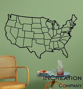 Usa Map Vinyl Wall Decal Outline Wall Sticker Educational