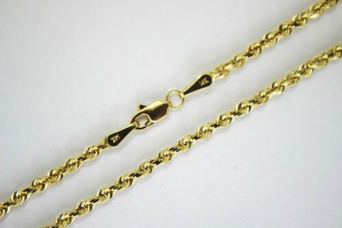 """Authentic 14k Yellow Solid Gold D//C Rope Chain 1.5mm~4mm//16/""""~30/"""" for Men Women"""