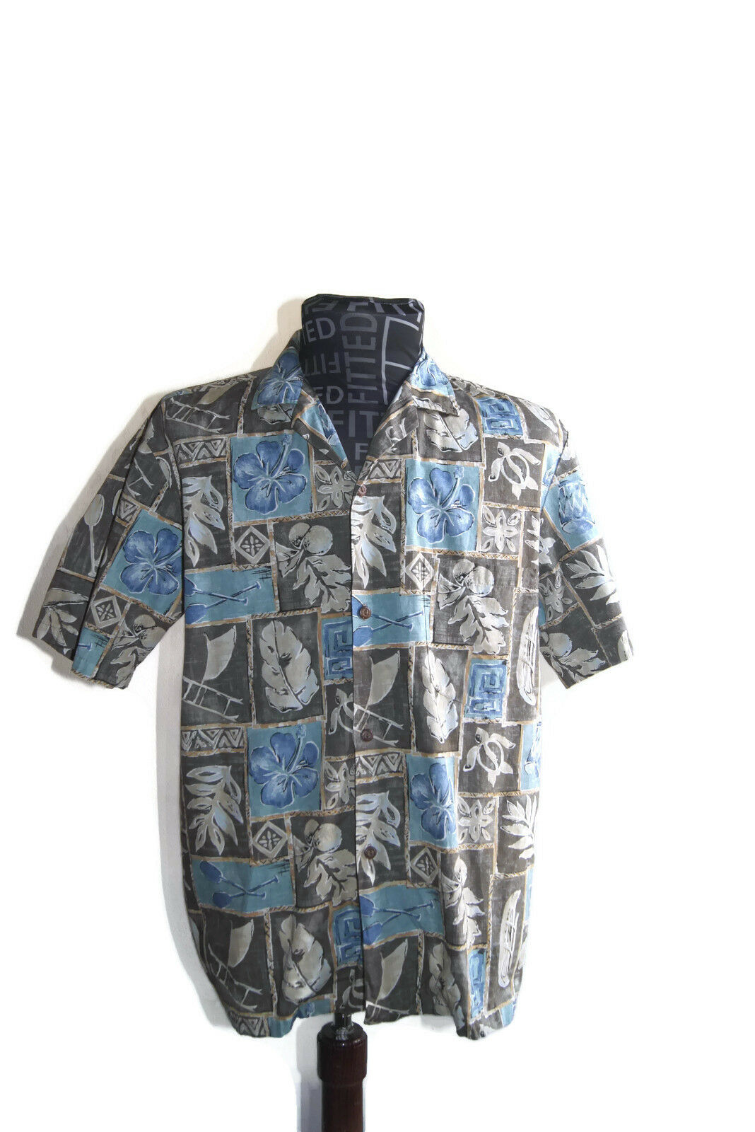 Paradise Style Hawaiian Shirt Brown and bluee Aloha Leaves Floral 100% Cotton Med