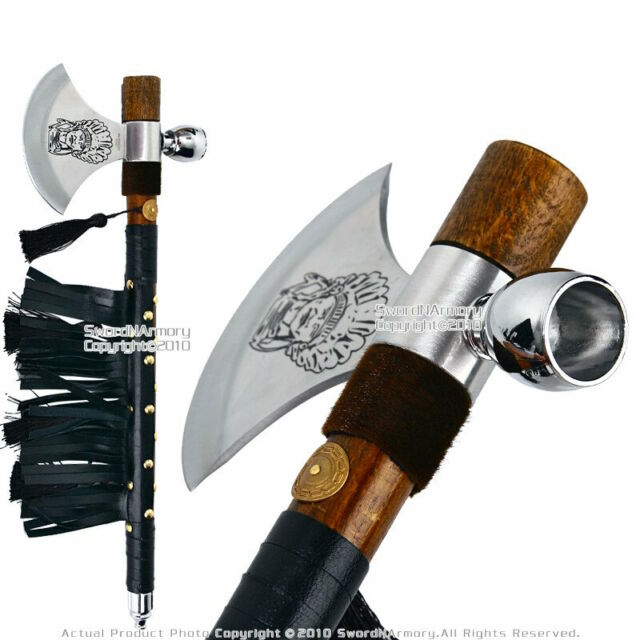 """19/"""" Indian Chief/'s Tomahawk Axe Hatchet with Tobacco Smoking Peace Pipe Feather"""