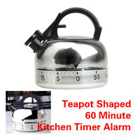 60 Minute Kitchen Timer Alarm Mechanical Teapot Shaped Timer Clock Counting Tool