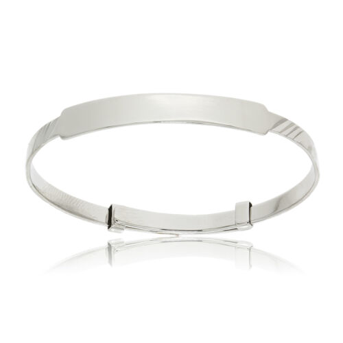 STERLING SILVER BABY BANGLE EXPANDABLE CHRISTENING IDENTITY PLATE FREE ENGRAVING