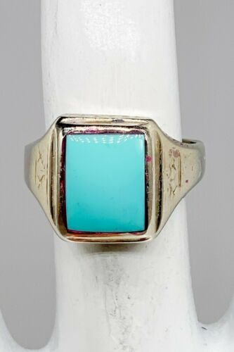Antique 1900s Edwardian LR 5ct Natural Turquoise 1