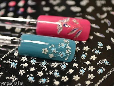 15 Sheets 3D Nail Art Stickers Mixed Color & White Gel Flowers Decals FSMC