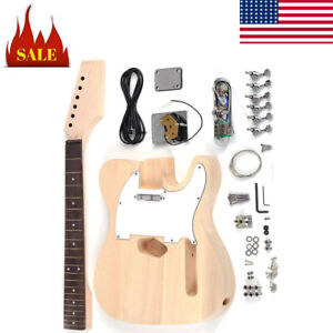 Unfinished DIY Electric Guitar Kit Maple Neck Rosewood Fingerboard f O3C4