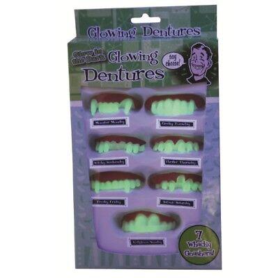 Glowing protesi Set di 7 brillano al buio GID DENTI FINTI Costume Halloween