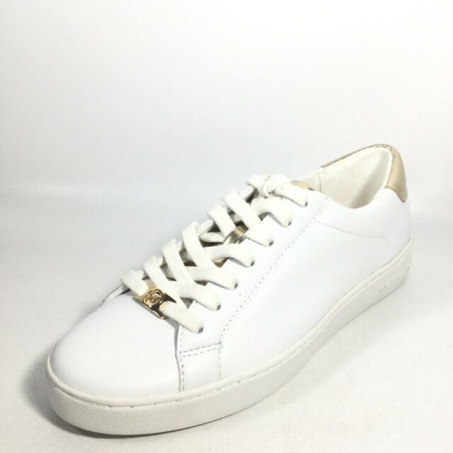 9672f8f01c0d6 Michael Kors Irving Womens Size 10 M White Lace Up Gold Logo Fashion  Sneakers
