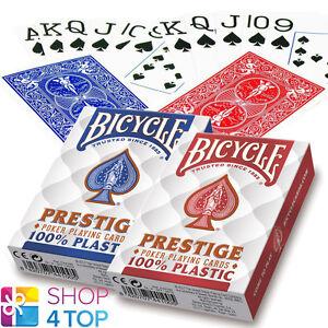 2-DECKS-BICYCLE-PRESTIGE-100-PLASTIC-POKER-PLAYING-CARDS-JUMBO-RED-BLUE-NEW