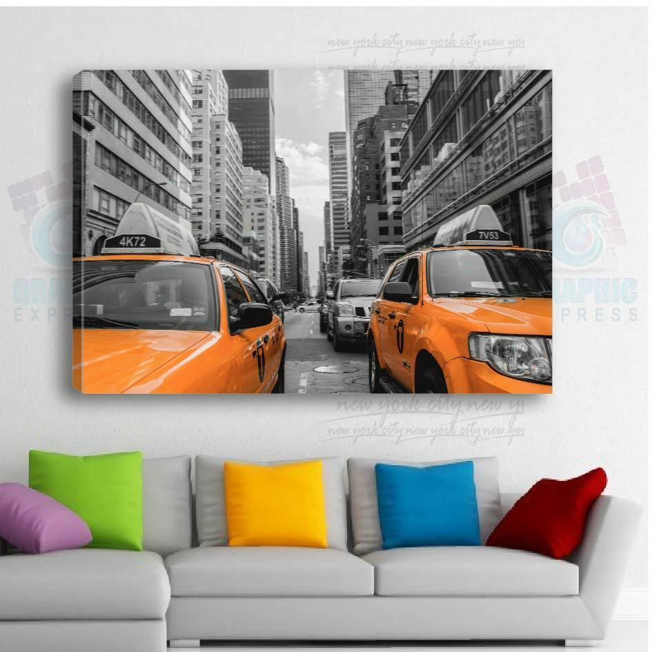 80x50cm - TOILE TOILE TOILE IMPRIMEE TAXI NEW YORK - TABLEAU DECORATION MURALE - TX-01 745b98