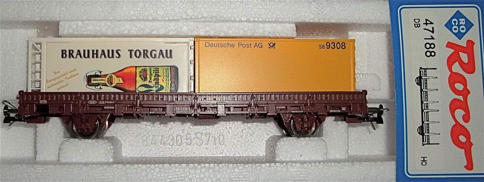 BRAUHAUS TORGAU Allemand Post AG Container wagon plat DB ROCO 47188 H0 HU1 µ