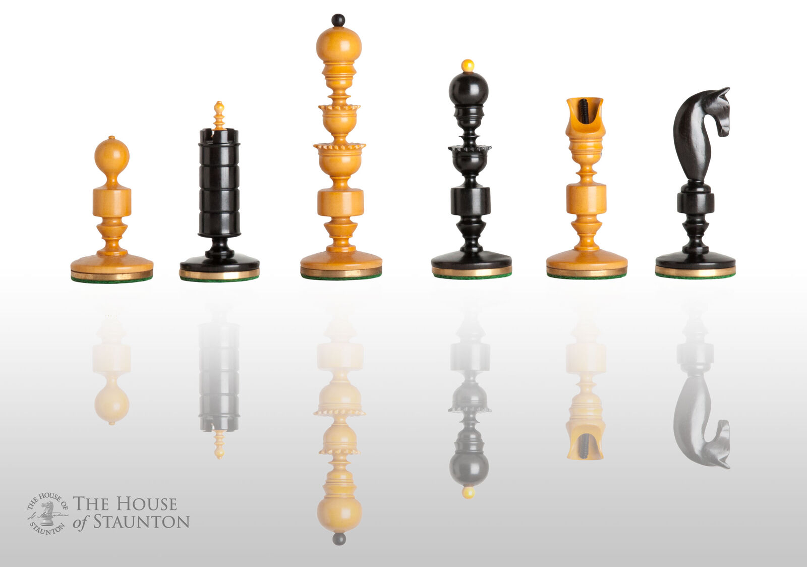 The Biedermeier Luxury Chess Set - Pieces Only - 4.4  King - Genuine Ebony and A