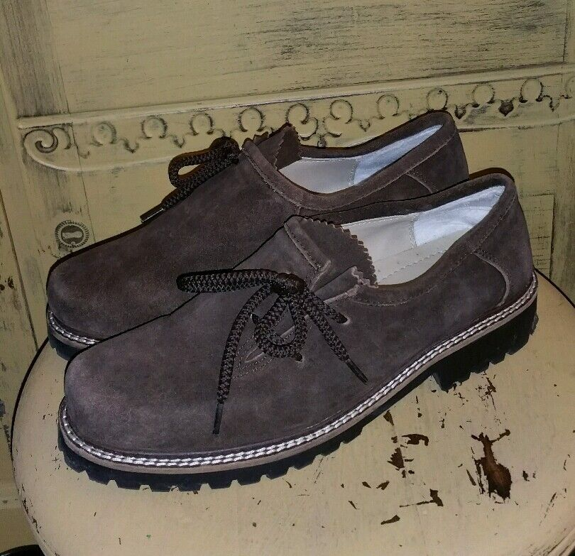 RARE ALMACH BAVARIA BROWN SUEDE OXFORDS Schuhe 42 US ladies 11 SIDE LACE BROGUES
