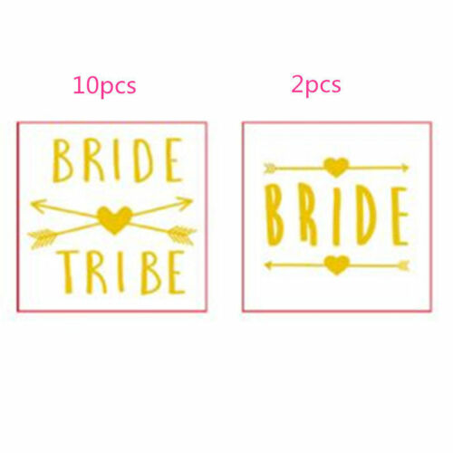 12x Bride Tribe Gold Flash Temporary Tattoos Hen/'s Bachelorette Party Favors