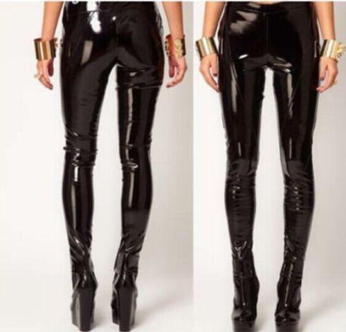 Glossy Vinyl  Skinny Leggings Pencil Womens Punk Patent Leather Pants Nightclub