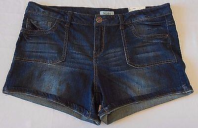 Mudd Denim Shorts Dark Wash Midi Low Rise Stretch Fold Cuff NWT $38 Size 17