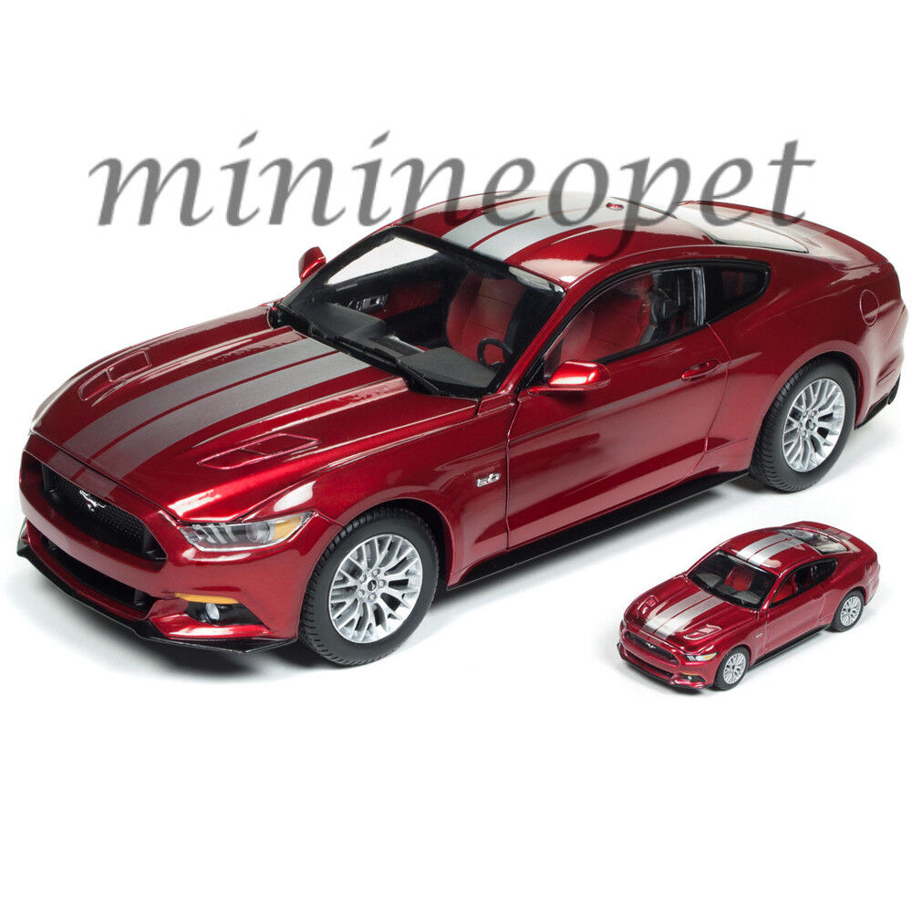 AUTOWORLD AW245 2017 FORD MUSTANG GT 1/18 with 1/64 VERSION DIECAST RED