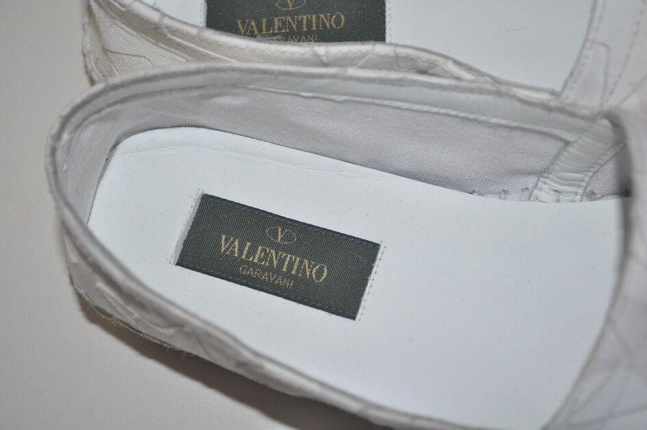 NIB  545+ Valentino blanc Star Canvas Print Print Print Espadrille Flat Slip on chaussures 37 - 7 24dce9