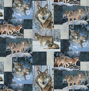Wolves Patchwork Anti-Pill Fleece Throw Blanket
