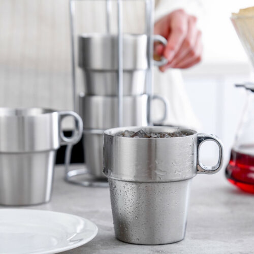 Edelstahl Becher Mit Griff für Reise Kaffeetasse Bierkrug
