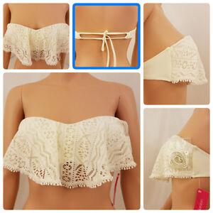 Xhilaration-Womens-Bikini-Swimwear-Bandeau-Medium-White-Lace-Overlay-Sweetheart