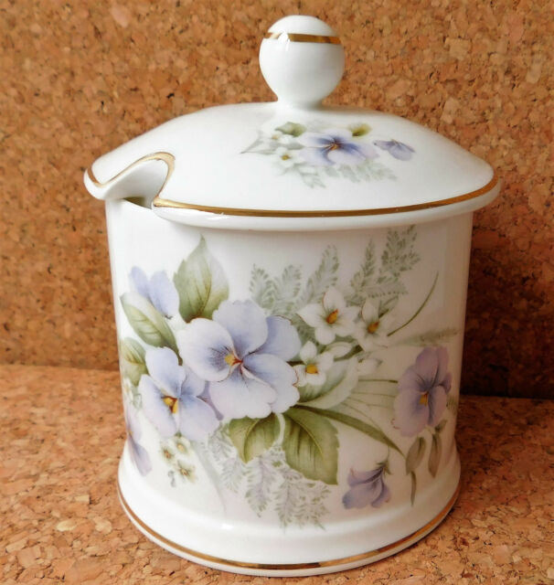 Fortnum and Mason honey pot preserve jar with lid Victoria Bone China flowers