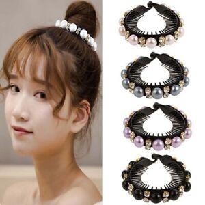 Fashion-Rhinestone-Hair-Claws-Women-Bird-Nest-Hairpin-Pearls-Ponytail-Holder