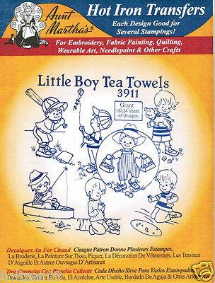 Little Girl/'s Tea Towel #3912 Aunt Martha/'s Hot Iron Embroidery Transfer Pattern