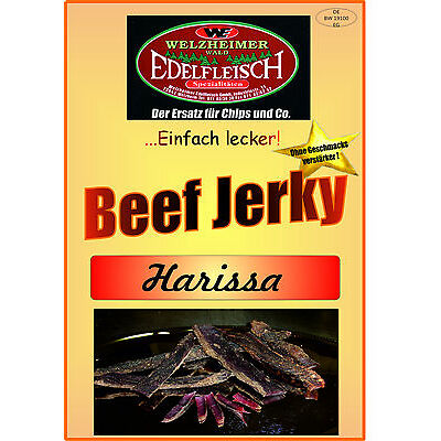 300 Gramm Beef Jerky Trockenfleisch Harissa scharf