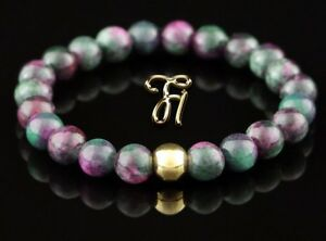 Jade verde rosa 925er Sterling pulsera plata Bracelet perlas pulsera 8mm