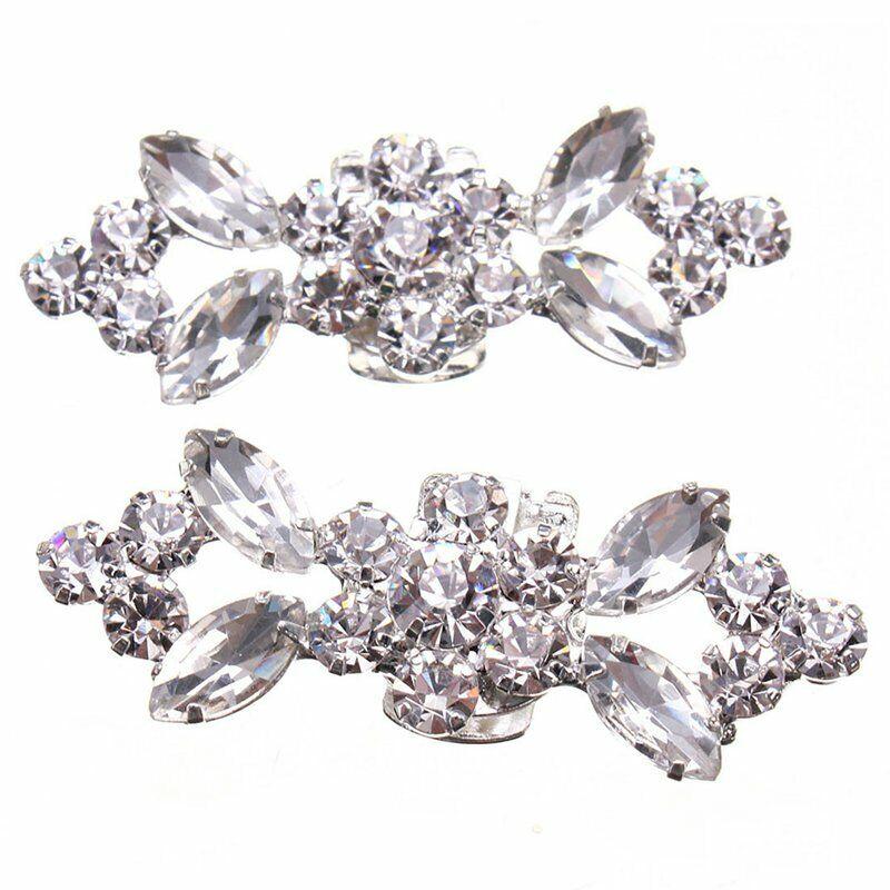 1Pair Rhinestone Crystal Wedding Bridal Diamante Crystal Shoe Clips E7O5