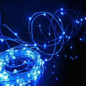 Nueva-Bateria-de-20-30-50-LED-Azul-Tira-de-Lamparitas-Fiesta-De-Cobre-Alambre-de-arroz-Micro